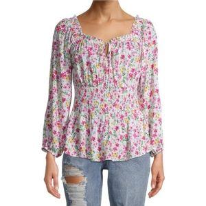 3/$20 pink floral peasant blouse